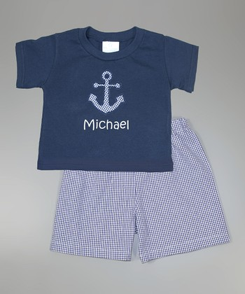 Navy Anchor Personalized Tee & Shorts - Infant, Toddler & Boys