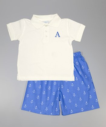 White Initial Polo & Blue Nautical Shorts - Toddler & Boys