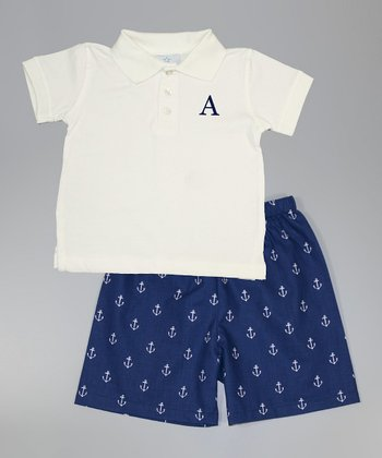 White Initial Polo & Navy Nautical Shorts - Toddler & Boys