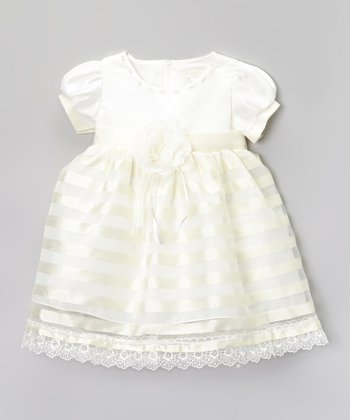 Ivory & Yellow Stripe Rosette Puff-Sleeve Dress - Infant