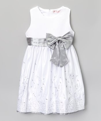 White & Silver Bow Embroidered A-Line Dress - Toddler & Girls