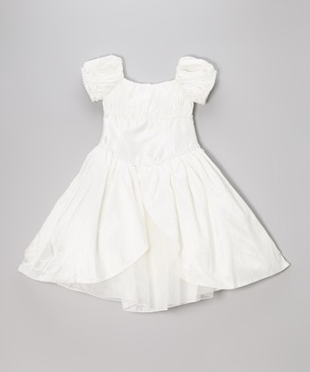 Ivory Pearl Puff-Sleeve Dress - Infant & Girls