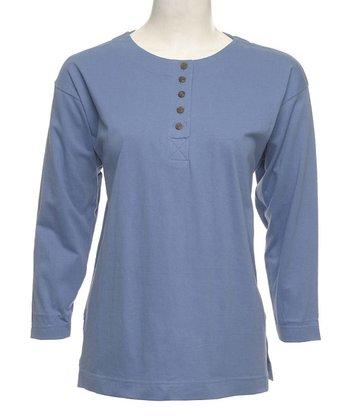 Le Mieux Dusty Blue Five-Button Henley - Women, Petite & Plus