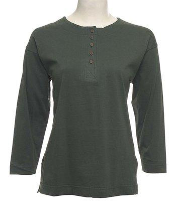Le Mieux Hermitage Green Five-Button Henley - Women, Petite & Plus