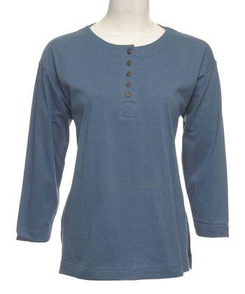 Le Mieux Roman Gray Five-Button Henley - Women, Petite & Plus