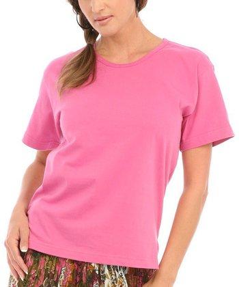 Le Mieux Hot Pink Crew Neck Tee - Women, Petite & Plus