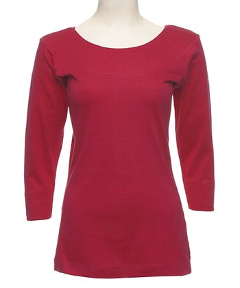 Le Mieux Red Three-Quarter Sleeve Top - Women