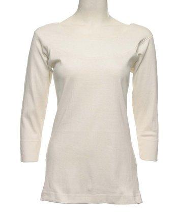 Le Mieux White Three-Quarter Sleeve Top - Women