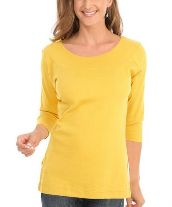 Le Mieux Yellow Three-Quarter Sleeve Top - Women