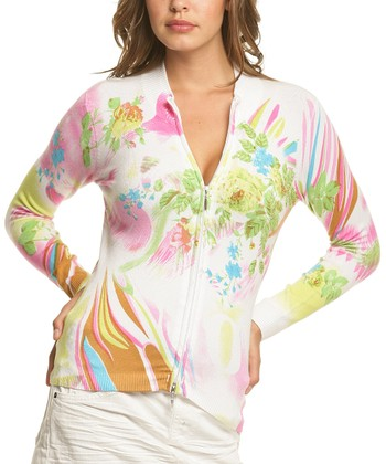 Le Mieux Pink & Green Abstract Floral Zip-Up Jacket - Women