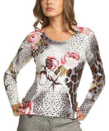 Le Mieux White & Gray Leopard Rose Scoop Neck Top - Women