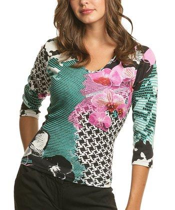 Le Mieux Turqouise & Pink Status Three-Quarter Sleeve Top - Women