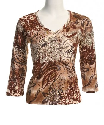 Le Mieux Brown & Gray Abstract V-Neck Top - Women