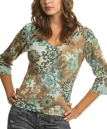 Le Mieux Teal & Brown Abstract V-Neck Top - Women