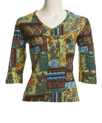 Le Mieux Blue & Yellow Geometric Abstract V-Neck Top - Women