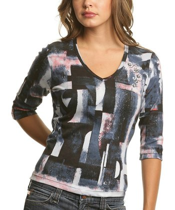 Le Mieux Black & Pink Geometric Abstract V-Neck Top - Women