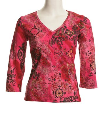 Le Mieux Pink & Brown Boho V-Neck Top - Women