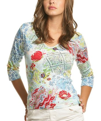 Le Mieux Red & Blue Abstract V-Neck Top - Women