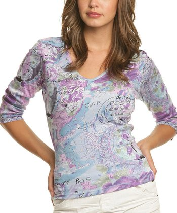 Le Mieux Lilac & Blue Abstract V-Neck Top - Women