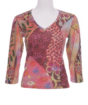 Le Mieux Pink & Orange Abstract V-Neck Top - Women