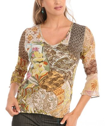 Le Mieux Orange & Brown Bell-Sleeve Abstract V-Neck Top - Women
