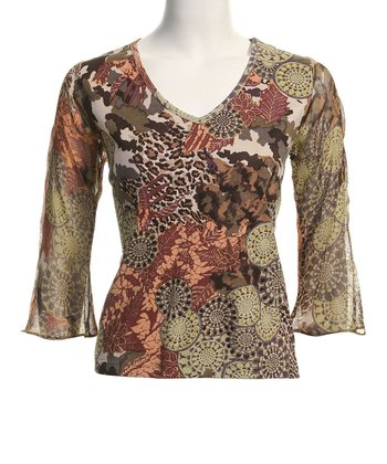Le Mieux Green & Mauve Bell-Sleeve Abstract V-Neck Top - Women