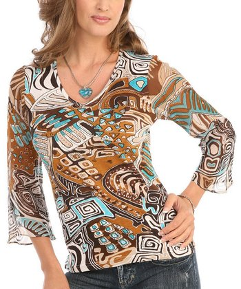 Le Mieux Brown & Teal Abstract V-Neck Top - Women
