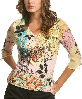 Le Mieux Yellow & Pink Abstract V-Neck Top - Women