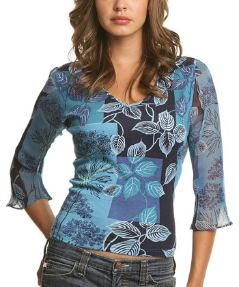 Le Mieux Blue & Purple Bell-Sleeve Abstract V-Neck Top - Women
