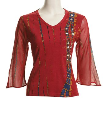 Le Mieux Red & Blue Bell-Sleeve Abstract V-Neck Top - Women