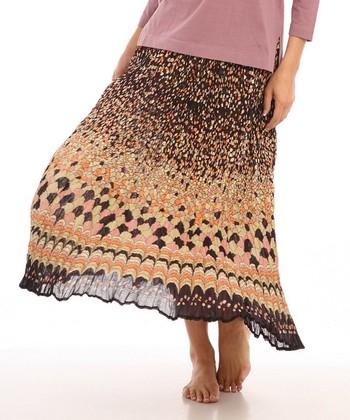 Le Mieux Brown & Purple Scallop Maxi Skirt - Women & Petite
