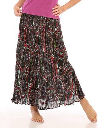 Le Mieux Black & Pink Mod Maxi Skirt - Women