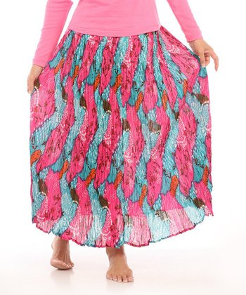 Le Mieux Pink & Turquoise Abstract Maxi Skirt - Women