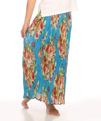 Le Mieux Blue & Red Floral Maxi Skirt - Women