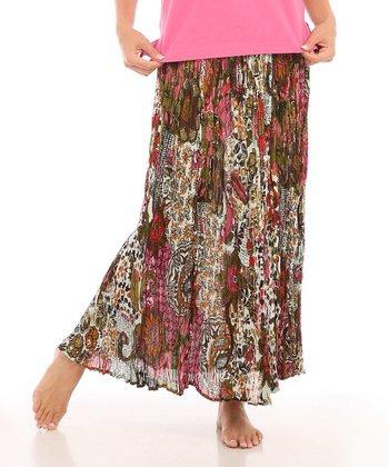 Le Mieux Brown & Pink Boho Maxi Skirt - Women