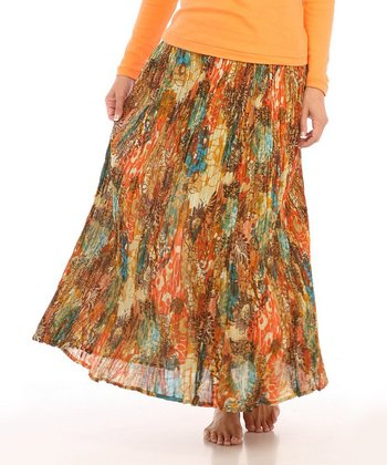 Le Mieux Orange & Brown Floral Maxi Skirt - Women