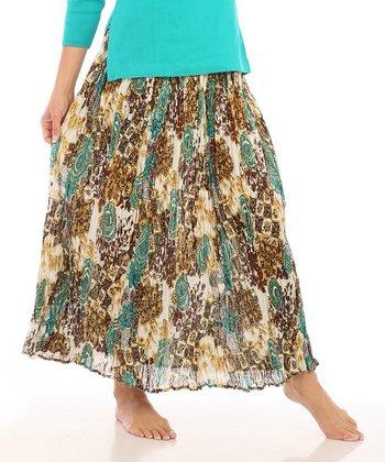 Le Mieux Green & Brown Boho Maxi Skirt - Women