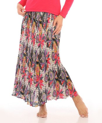 Gray & Purple Floral Maxi Skirt - Women