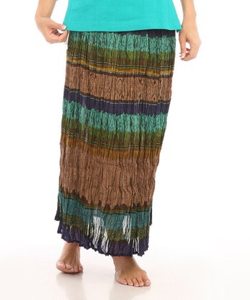 Le Mieux Teal & Brown Crinkle Stripe Maxi Skirt - Women