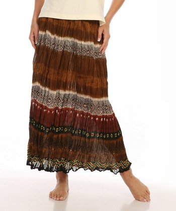 Le Mieux Brown & Red Tribal Stripe Maxi Skirt