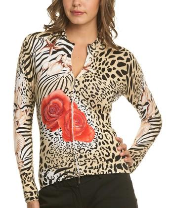 Le Mieux Beige & White Leopard Rose Zip-Up Jacket - Women