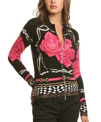 Le Mieux Black & Pink Statement Rose Zip-Up Jacket - Women