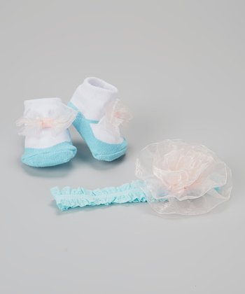 Blue & Light Pink Flower Headband & Socks