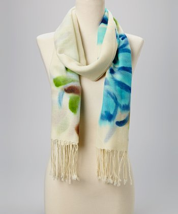 Fiore by La Fiorentina Turquoise & Ivory Fringe Wool Scarf