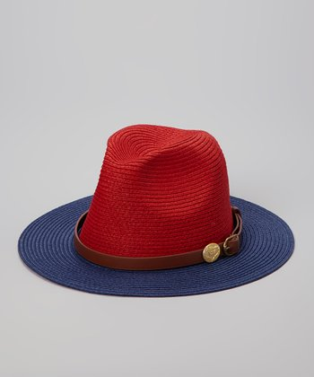 Fiore by La Fiorentina Red & Blue Belted Sunhat