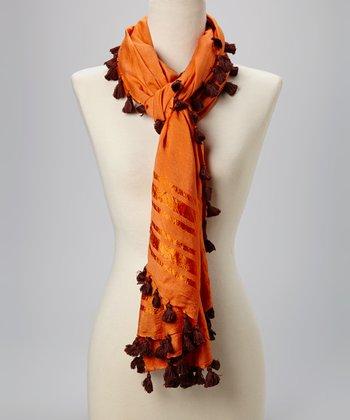 Fiore by La Fiorentina Orange Tassel Scarf
