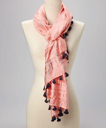 Fiore by La Fiorentina Pink Tassel Scarf