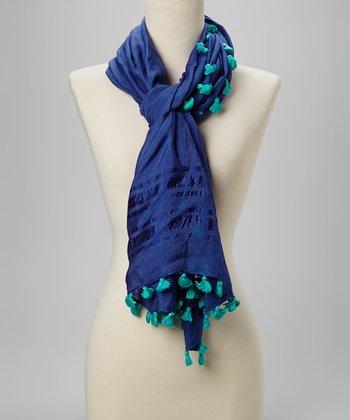 Fiore by La Fiorentina Blue Tassel Scarf