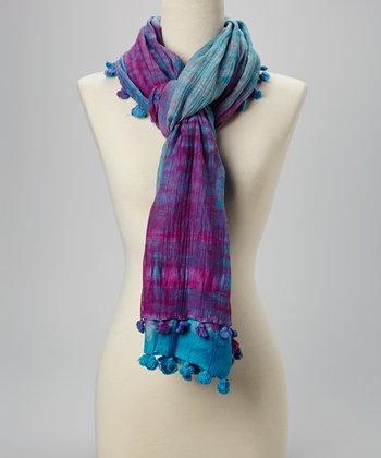 Fiore by La Fiorentina Blue & Purple Tie-Dye Pom-Pom Silk-Blend Scarf