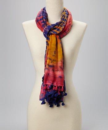 Fiore by La Fiorentina Yellow & Dark Blue Tie-Dye Pom-Pom Silk-Blend Scarf